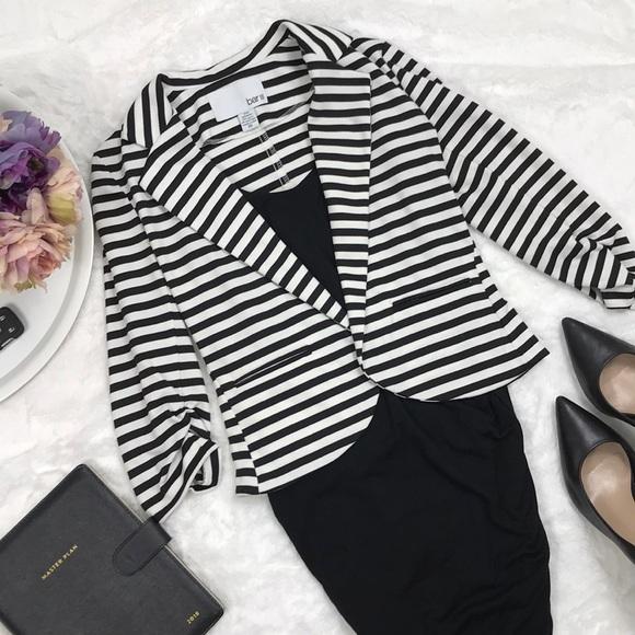 Bar III Jackets & Blazers - Bar III Black and White Striped Light Blazer XS